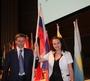 На конференции Oriflame, нам доверили нести флаг России.